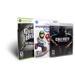 Photo of Mario Kart Wii, Guitar Hero: Metallica for Xbox 360 and Call of Duty: Black-Ops for PS3.